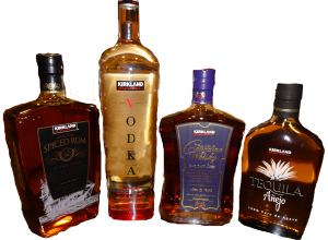 Kirkland Spiced Rum is made with the first pressing of virgin sugar cane and it is distilled five times in St Croix at the Cruzan Rum Distillery. The rum is shipped to California where Levecke Corporation adds natural flavors and caramel color before bottling at 92 proof in a L bottle.